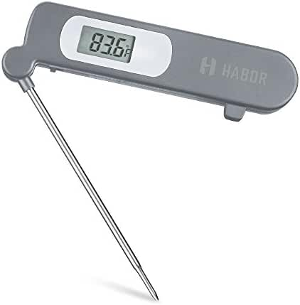 Habor Instant Read Meat Thermometer, Super Fast Accurate Cooking Thermometer Electronic Kitchen Thermometer with Digital LCD, Fordable Long Probe for Food, Candy, Milk, Tea, BBQ Grill Smokers
